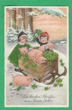 vintage German New Year Wishes card