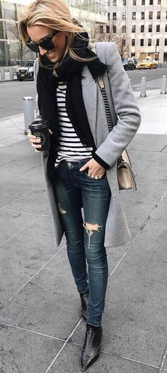 fall outfit inspiration / scarf + top + coat + bag + rips + boots