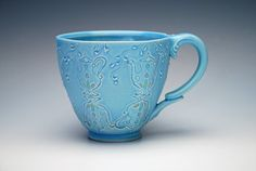 Handmade Coffee mug stamped Teapots in Aqua w. by KiefferCeramics, $72.00