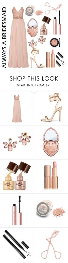 """#alwaysabridesmaid  contest entry"" by broadwaygal13 ❤ liked on Polyvore featuring Badgley Mischka, Marchesa, Too Faced Cosmetics, rosegold and alwaysabridesmaid"