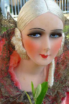 Antique French Boudoir Doll Paris 1920 RARE Silk 35inches Tall | eBay