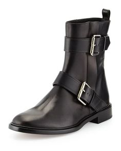 Double-Buckle+Moto+Ankle+Boot,+Black+by+Proenza+Schouler+at+Bergdorf+Goodman.
