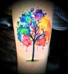 watercolour back tattoos rainbow - Google Search
