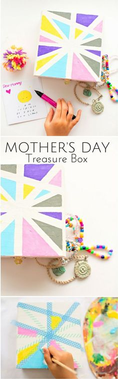 Kid-Made Mother's Day Treasure Box. A beautiful art box kids can make to fill with sweet cards, notes and kid-made jewelry for mom. Mothers Day Gifts Uk, Mothers Day Crafts For Kids, Craft Projects For Kids, Mothers Day Cards, Gifts For Kids, Children Crafts, Diy Projects, Professional Gifts, Craft Box