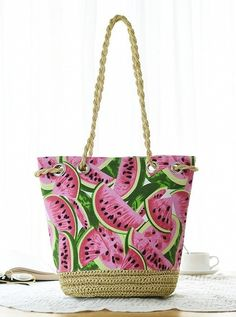 Women's Watermelon Print Shoulder Beach Bag