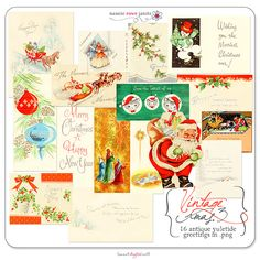 These wonderful vintage Christmas cards from the 1920's and 30's are perfect for your next layout or holiday hybrid projects!