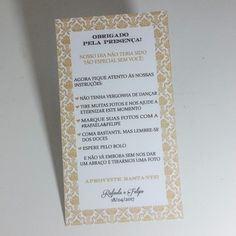 Cartão de agradecimento para casamento