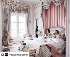 Pastel colors lucious fabrics silky fabrics chandelier lighting it all points to a regal room a the Paris Ritz  #Repost @voguemagazine  After a spectacular 4-year $200 million renovation the storied @ritzparis is reopening. Click the link in our bio to see more from inside with @messbrewster and #noemieschmidt. Photographed by @mikaeljansson styled by @phyllis_posnick Vogue July 2016. #inspiration #bedroom #royalroom #royaltreatment #bed #masterbedroom #lxcostarica #dreambedroom…