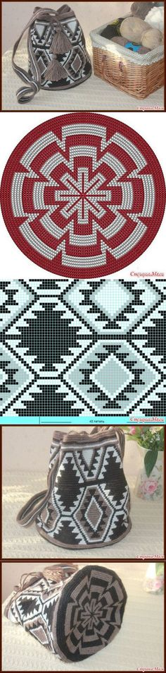 pattern chart for cross stitch crochet knitting knotting beading weaving pixel art micro macrame and other crafting projects - PIPicStats Tapestry Crochet Patterns, Crochet Motifs, Crochet Chart, Crochet Diagram, Knitting Patterns, Crochet Handbags, Crochet Purses, Crochet Bags, Mochila Crochet