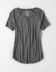992829faa0fdec AE Soft & Sexy Short Sleeve Henley T-Shirt in Black Size Small Sexy
