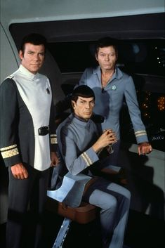"""Publicity photo of Kirk, Spock and McCoy in """"Star Trek: The Motion Picture""""  - 1979."""