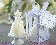novelty Wedding Gown Candle in Designer Window Shop Gift BoxL Z003/A Wedding Souvenir_Wedding Favor_BeterWedding Wholesale