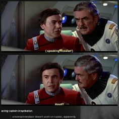 The one time Chekov was actually shown speaking Russian, it was to Scotty, and in the third movie.