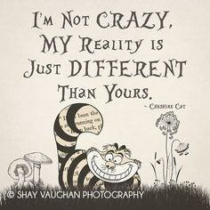 "Alice In Wonderland Gallery Wrapped Canvas Cheshire Cat ""I'm Not Crazy, My Reality Is Just Different Than Yours"" Quote Home Decor Wall Art - I'm not Crazy….Alice In Wonderland I ShayItWithLove - Great Quotes, Me Quotes, Funny Quotes, Inspirational Quotes, Alice Quotes, Im Crazy Quotes, Super Quotes, Lyric Quotes, Cheshire Cat Alice In Wonderland"