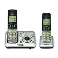 VTech CS6429-2 DECT 6.0 Cordless Phone with Call Waiting Caller ID and Answering System - LCD Display Monochrome - Silver/Black