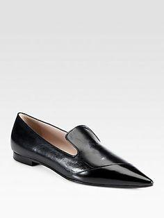 Miu Miu Vitello Shine & Spazzolato Leather Loafers