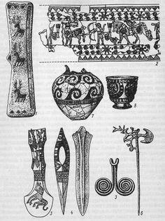 Центральнокавказская, кобанская и триалетская культуры: 7 —поясная пряжка; 2—фрагмент орнаментированного пояса; 3 — топор с гравировкой; 4—кинжал; 5— бронзовый крючок; 6— булавка (Кобанский, Тлийский могильники); 7 — керамический сосуд триалетской культуры; 8 — золотой инкрустированный сосуд