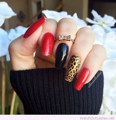 Red, black and leo nails