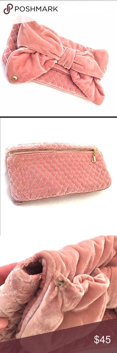 """Juicy Couture Clutch  Pink velvet clutch. Magnetic closure.  Zipper back pouch. 13""""length 7.5"""" height . Has a flaw on the top corner as seen in photo 4 Juicy Couture Bags Clutches & Wristlets"""