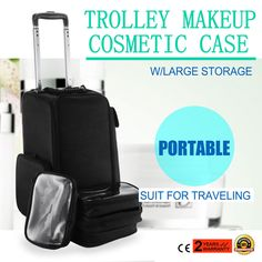 3 In 1 Rolling MakeUp Case Rolling Makeup Train Case Retractable Tray Size: x x (LxWxH). Rolling Makeup Case, Makeup Train Case, Professional Makeup Case, Cosmetic Pouch, Nail Tools, Makeup Cosmetics, Storage Organization, Health And Beauty, Awesome Makeup