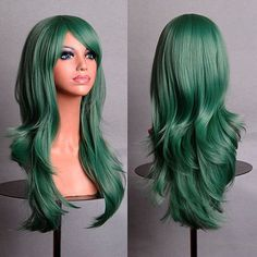 Material: Synthetic Hair Item Type: Wig Length: Long Wigs Type: Cosplay Wigs Cap Size: Medium Net Weight: Style: Wavy Lace Wig Type: None Lace Wigs Size: Style: Anime The Max Size of Hairnet: About Long Hair Wigs, Curly Wigs, Cosplay Hair, Cosplay Wigs, Anime Cosplay, Cheap Cosplay, Party Hairstyles, Wig Hairstyles, Celebrity Hairstyles