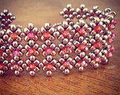 Gold & Turquoise crystal cuff bracelet door AmyKanarekDesigns
