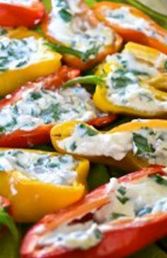 With all the vibrant colors of the #minipeppers these are sure to brighten up the table with this healthy appetizer recipe.