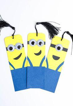 DIY Minion Bookmarks Minions Bookmark craft done with googly eyes. Bookmark Craft, Diy Bookmarks, Bookmark Template, Diy Crafts To Sell, Fun Crafts, Paper Crafts, Decor Crafts, Diy For Kids, Crafts For Kids