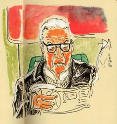 [ #DRAWING ] The reading man - In tram 8, #Roma http://www.lescarnets.fr/sketch.php?id=1042 #art #travel