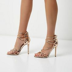 Rose gold tone wide fit strappy sandals - sandals - shoes / boots - women