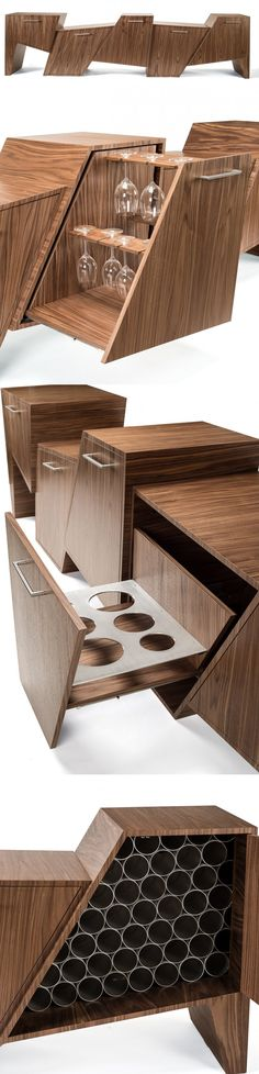 Unique and Unusual Cabinet Made of Walnut This is a unique and unusual cabinet designed by Peter Pierobon called Coast Range. Modern Wood Furniture, Smart Furniture, Cabinet Furniture, Design Furniture, Unique Furniture, Furniture Decor, Cave A Vin Design, Cabinet Design, Wood Design