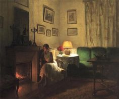 Songeuse devant la cheminée / Pensive by the fire, Marcel Rieder. French (1851 - 1925)