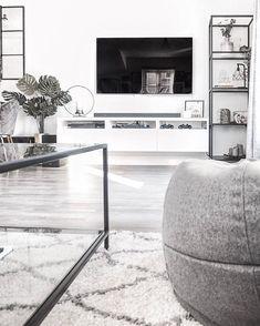 Ikea vittsjo shelves and white tv stand Ikea Bedroom White, Black Bedroom Furniture, Apartment Furniture, Living Furniture, Ikea Tv Stand, Tv Stand Shelves, Tv Stand Decor, New Living Room, Small Living