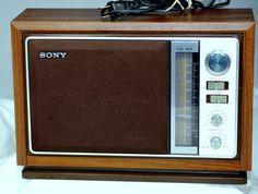 Vintage 1970'S Sony AM/FM Table Top Radio Model ICF-9740W With Wood Grain Case, via Etsy.