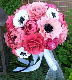 Bouquet - pantallas ramo - ramo de novia - flores de papel de color de rosa y negro - por encargo - cualquier Color de papel