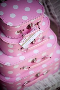 Pink polka dot suitcases - love some cute polka dots or stripes in Pink & White! <3