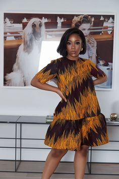 african print dresses Relaxed fitdress Unlined 37 inch overall length Sleeves Length 11 inches Pockets in side seams African wax cotton Made in Nigeria The model is and Nigerian Dress Styles, Short African Dresses, Latest African Fashion Dresses, African Print Dresses, African Dress Designs, Short Dresses, Ankara Fashion, Ankara Styles, African Print Clothing