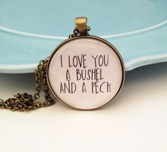 I Love You a Bushel and a Peck Necklace Valentine's Day by MinMac