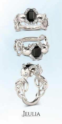 Entwined Double Octopus Emerald Cut Black Diamond Rhodium Plating Sterling Silver Octopus Ring #Jeulia