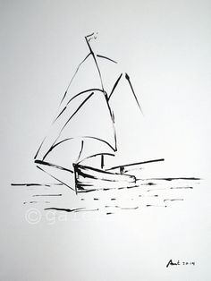 Original ink drawing - sailboat - europeanstreetteam