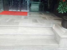 wood vein grey marble flooring and step interior