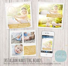 Instagram Marketing Boards  Quick Hit by #PaperLarkDesigns on Etsy, $5.95 #instagram #graphicdesign #marketing #photographymarketing #photographybranding