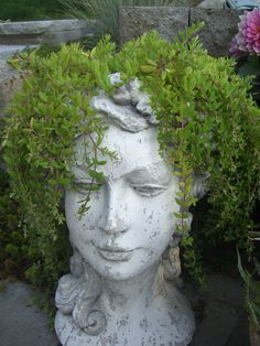 My favorite hardy succulent, Sedum 'Acre', used as hair for this lady pot.