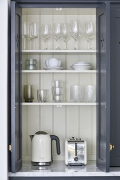 appliance folding door breakfast tea coffee area - close to hide in open plan living. Tongue and groove panelling inside this lovely deVOL countertop cupboard Shaker Kitchen, New Kitchen, Kitchen Ideas, Beech Kitchen, Kitchen Dining, Pantry Ideas, Kitchen Designs, Kitchen Decor, Dining Room