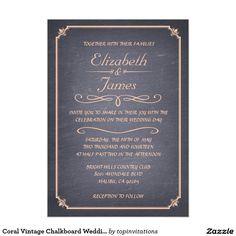 Coral Vintage Chalkboard Wedding Invitations