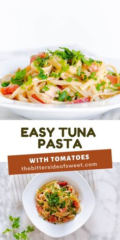 This easy Tuna Pasta With Tomatoes is perfect for a quick meal! With fresh tomatoes and parsley, this pasta can easily be modified!   The Bitter Side of Sweet Yummy Pasta Recipes, Delicious Dinner Recipes, Noodle Recipes, Pork Recipes, Brunch Recipes, Seafood Recipes, Cooking Recipes, Yummy Food, Pasta Dishes