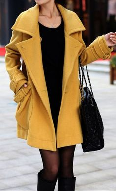 Mustard Coat | Large design Pockets.  dresslily.com