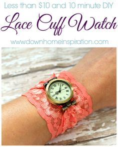 With just a few bucks and a small amount of work you can rock a one of a kind, fun DIY Lace Cuff Watch.