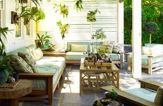 Cool greens and cream for a sitting area in the summer