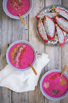 Dragonfruit is not only beautiful but so yummy || Try these bright bowls